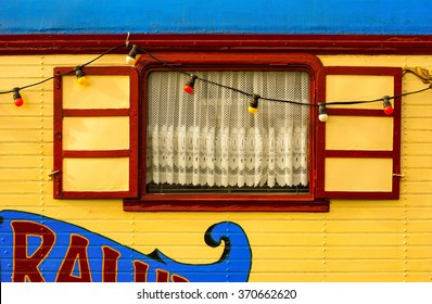 Circus wagon close-up / Caravan / Window on wooden house