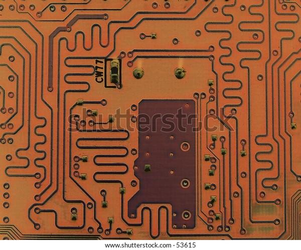 Circut board, brown tones.