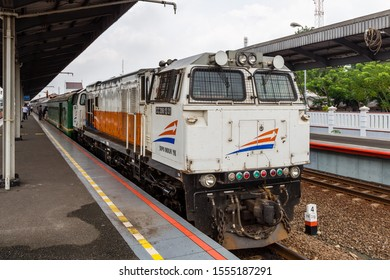 "Cirebon, Indonesia - 4 February 2015: Diesel Train CC 2061331""DIPO INDUK YK"" at Cirebon Railway Station"