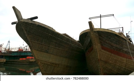 Cirebon, Indonesia - December 26, 2017: Fishing boat at Nusantara Fishery Port Kejawanan or Pelabuhan Perikanan Nusantara Kejawanan, Cirebon, West Java.