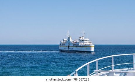 CIRKEWWA, MALTA - December 2017,Ferry crosses the Gozo channel in Cirkewwa,  The Gozo Channel Line operates the crossing between the two islands of Malta and Gozo.
