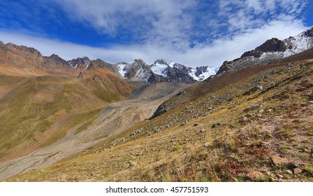 cirque glaciers, mountain red stone, summer, glacial valleys, mountains, Kazakhstan, Kyrgyzstan
