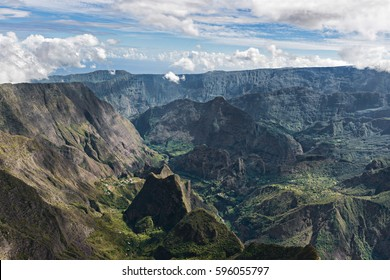 cirque of mafate, highland of the réunion island , view from maïdo summit.