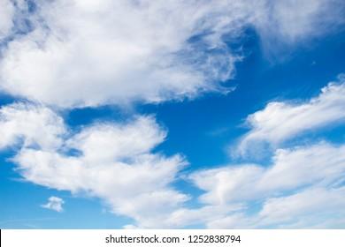 Cirrocumulus cloouds on blue sky background