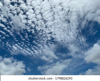 Cirrocumulus clouds are filled with beautiful streaks of clouds in the morning. Like small ripples a thin sheet of white ice crystals.no focus - Shutterstock ID 1798826293
