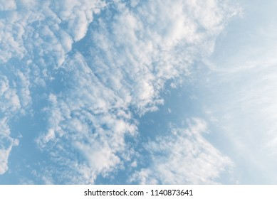 Cirrocumulus clouds in the sky, view from below