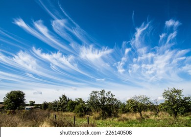 cirrus clouds formation with blue sky background