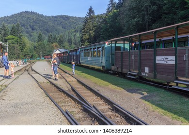 CISNA, POLAND. SEPTEMBER 2018: Bieszczady Forest Railway - narrow gauge railway built in a sparsely populated, forest region of Bieszczady Mountains, Poland. Today it is a tourist attraction