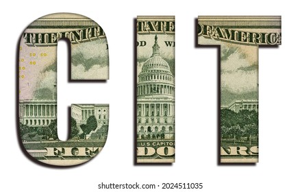 CIT Word 50 US Real Dollar Bill Banknote Money Texture on White Background