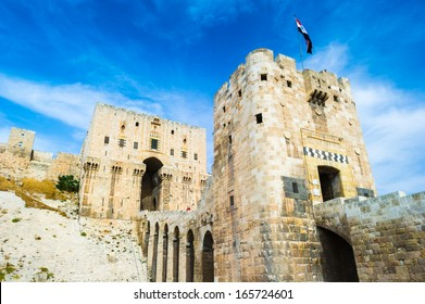 Citadel of Aleppo, a large medieval fortified palace, the old city of Aleppo, northern Syria.