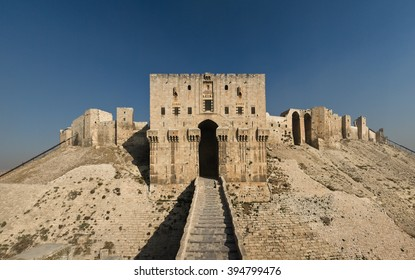 Citadel of Aleppo. Aleppo, northern Syria. The inner gate of the citadel.