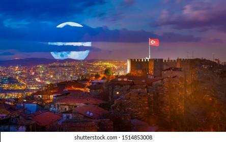 Citadel of Ankara in the night, Ankara, Turkey