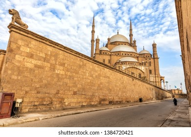 Citadel of Cairo wall and the Mosque of Muhammad Ali view, Egypt