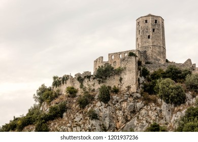 Citadel Pocitelj in Bosnia and Herzegovina, located in the valley of the river Neretva, built by King Tvrtko I of Bosnia in 1383