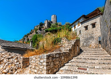 Citadel Pocitelj, castle in Bosnia and Herzegovina. This fortress was built by King Tvrtko I of Bosnia in 1383.