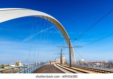 Citadelle Bridge across Bassin Vauban for trams and bicycles. Part of the new tram line Strasbourg - Kehl. France
