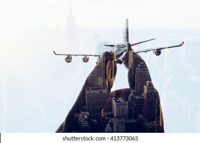 cities, airplane silhouettes, double exposures