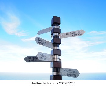 Cities signpost. Cape of Good Hope. Cape Town. South Africa