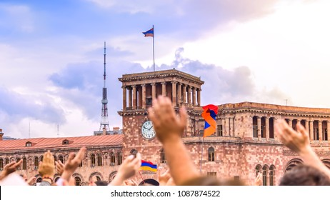 Citizens of Armenia with flags in their hands celebrate the victory of the revolution and welcome the new Prime Minister!