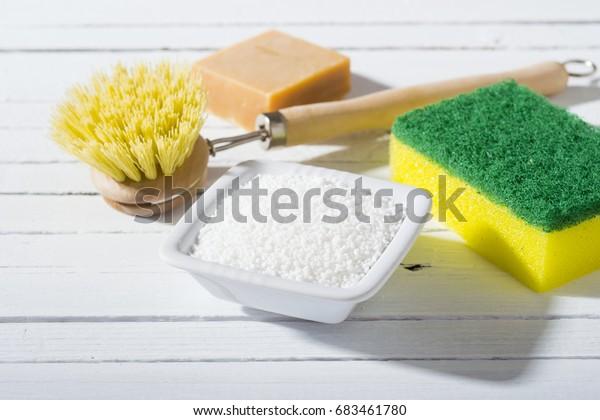 Citric Acid Cleaning Brush Sponge Bar Stock Photo (Edit Now