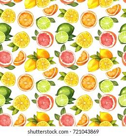 Citric seamless pattern, Watercolor illustration. Orange, lemon, lime, grapefruit.