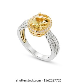 Citrine with diamond  ring  gemstone  two tone style white gold and yellow gold  on white background