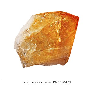 Citrine rock isolated on the white background clode-up. Raw uncut hi-quality yellow gemstone. Сitrine yellow gem crystals geological mineral background.
