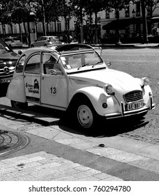 Citroen 2CV parked on the street in Paris, France, May 2017