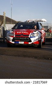 Citroen C4 Car Leaving Services area in Wales Rally GB 2008