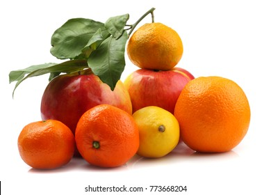 citrus and apples on white background