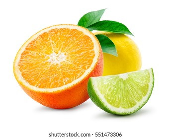 Citrus composition. Fruit with leaves isolated on white background. Orange, lemon, lime.