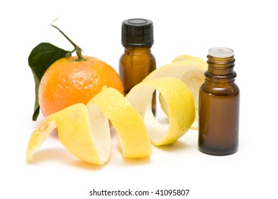citrus essential oil isolated on white