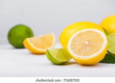 citrus fresh lemon fruit on white wood table