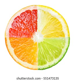 Citrus fruit. Collage of orange, lemon, lime, grapefruit slices isolated on white.