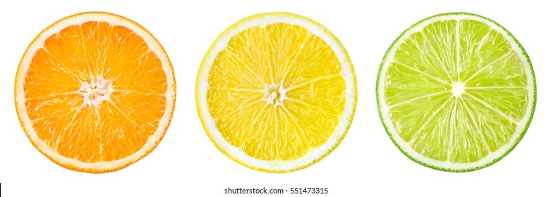 Citrus fruit. Orange, lemon, lime. Slices isolated on white background. Collection. - Shutterstock ID 551473315