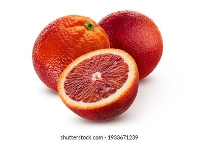 Citrus fruit. Sicilian orange fruit isolated on white background