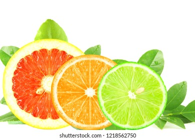 citrus fruit sliced isolated closeup as background
