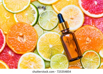 Citrus fruit vitamin c serum oil beauty care, anti aging natural cosmetic.
