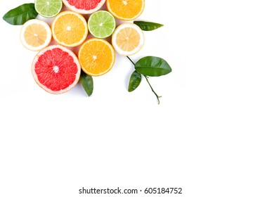 Citrus fruits arranged beautifully. Concept of healthy eating.