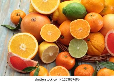 Citrus fruits  background (orange, lemon, grapefruit, mandarin, lime)