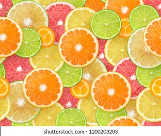 Citrus fruits background. Seamless pattern with pieces of orange, lemon, lime, grapefruit and kumquat