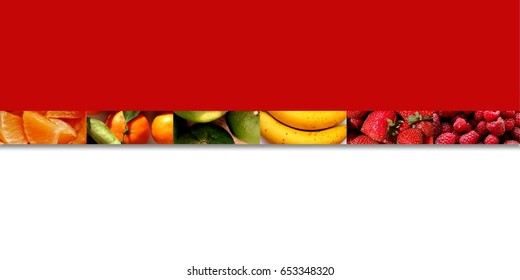 Citrus fruits, bananas and berries inside six slim rectangle shapes placed in a row, on red and white background