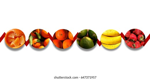Citrus fruits, bananas and strawberries inside six aligned circles with shadow underneath, bound by one red zigzag line, on white background