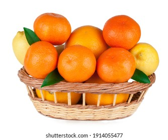 Citrus fruits in a basket (tangerines, oranges, lemons ) isolated on a white background.