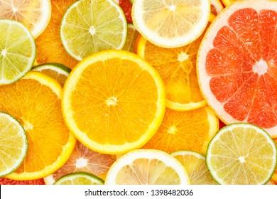 Zitrusfrüchte Sammlung Lebensmittelhintergrund Orangen Zitronen Limetten Grapefruits frische Fruchthintergründe
