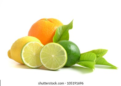 Citrus fruits with green leaves  isolated on white background, orange, lime and lemon.