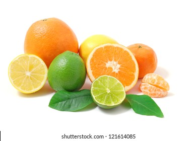 Citrus fruits with green leaves  isolated on white background. Healthy  lemon, orange and lime.