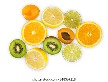 Citrus fruits half group isolated on white background. Sweet exotic tropical orange, kiwi, lemon,lime amd apricot, healthy natural organic food