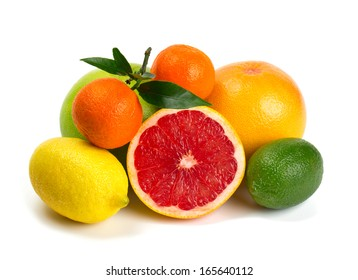 citrus fruits isolated on white background
