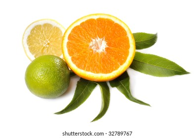 citrus fruits with leafs on a white underground